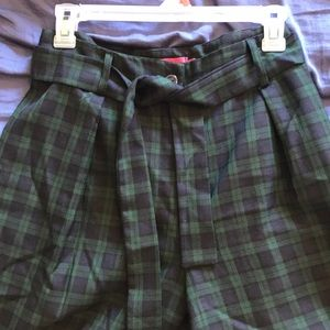 Green Plaid Tie Waist Pant